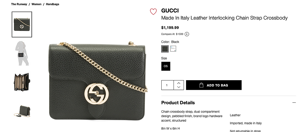 GUCCI Made In Italy Leather Interlocking Chain Strap Crossbody  $1,199.99