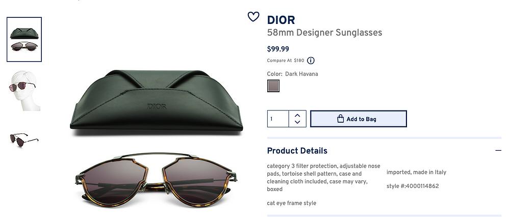 DIOR 58mm Designer Sunglasses  $99.99