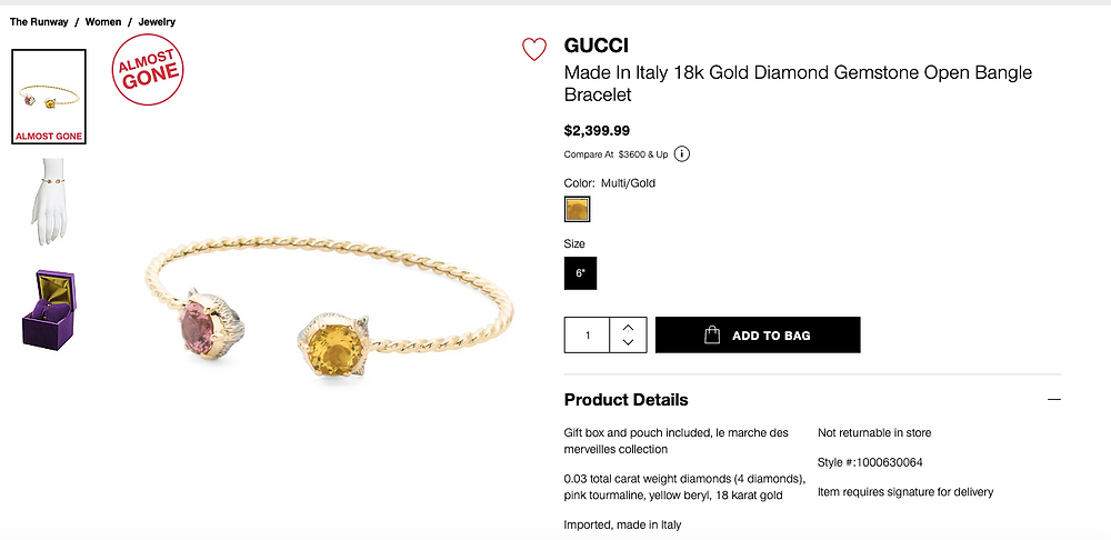 GUCCI Made In Italy 18k Gold Diamond Gemstone Open Bangle Bracelet $2,399.99 Compare At  $3600 & Up