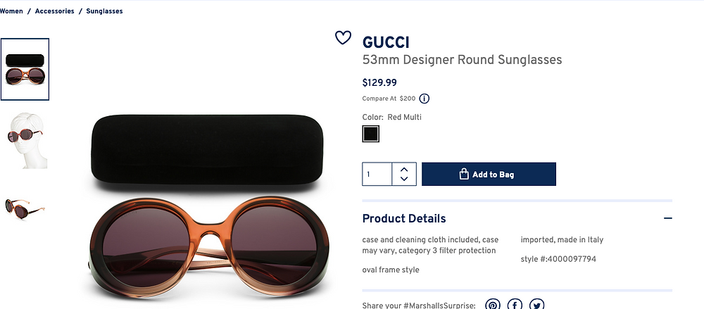 GUCCI 53mm Designer Round Sunglasses  $129.99