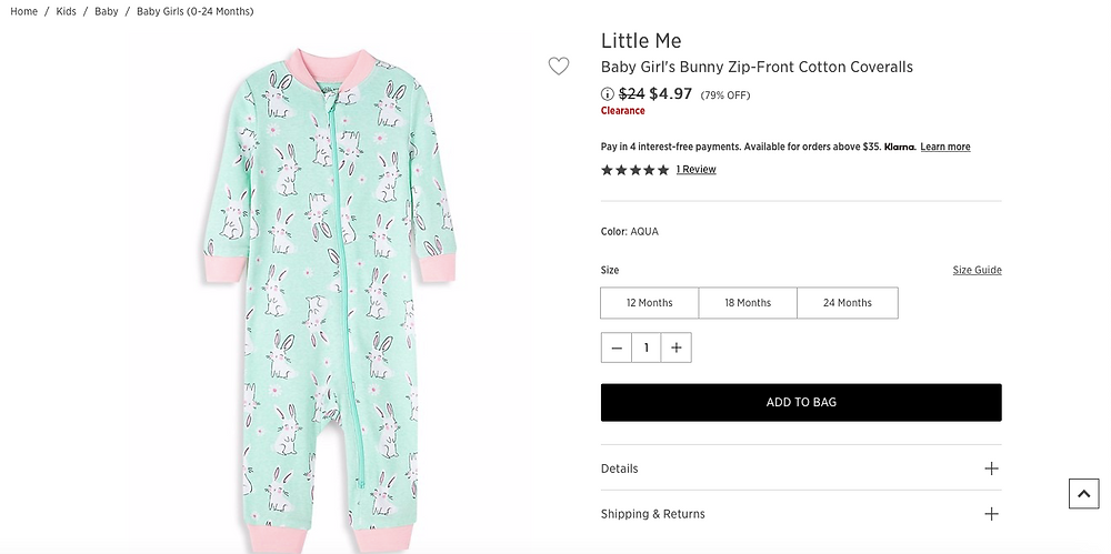 Baby Girl's Bunny Zip-Front Cotton Coveralls  $4.97 (79% OFF)