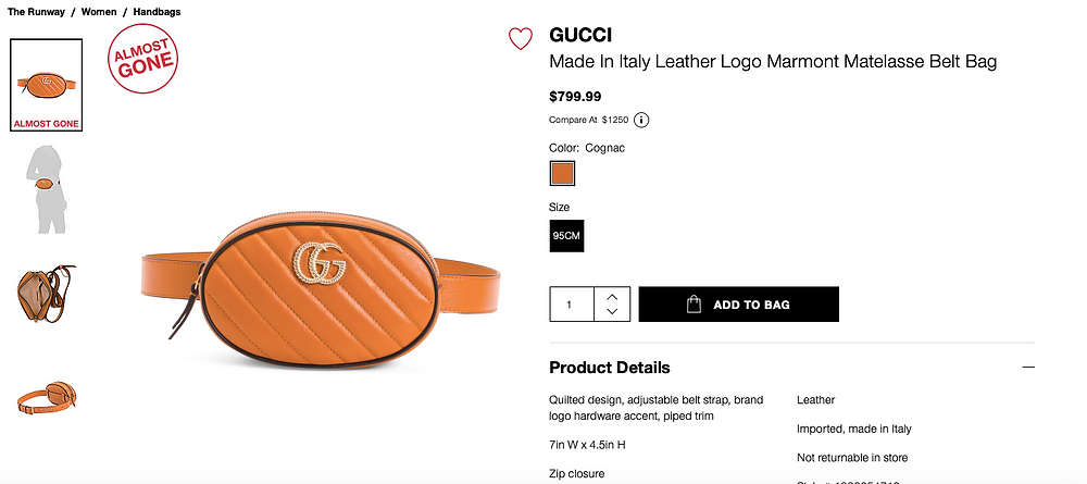 GUCCI Made In Italy Leather Logo Marmont Matelasse Belt Bag  $799.99 Compare At  $1250