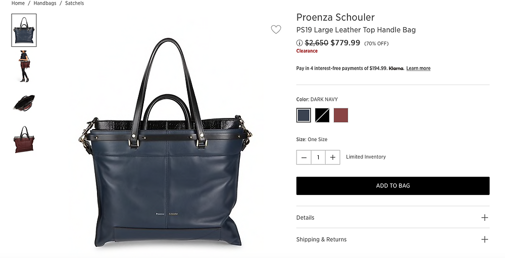 Proenza Schouler PS19 Large Leather Top Handle Bag $779.99 (70% OFF)