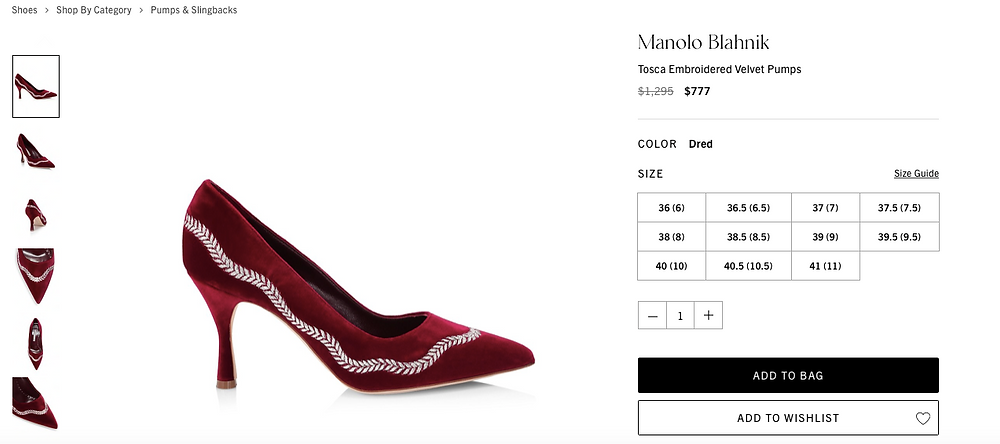 Manolo Blahnik Tosca Embroidered Velvet Pumps Price reduced from $1,295 to $777