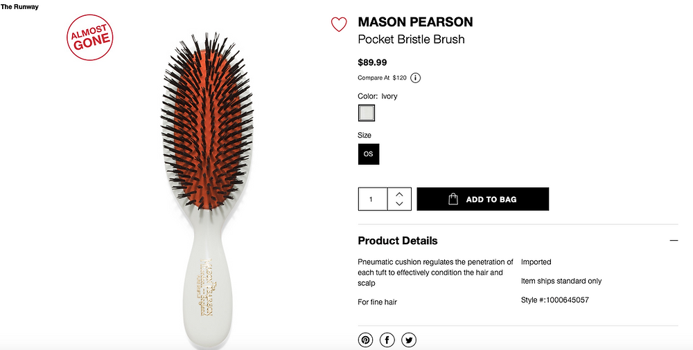 MASON PEARSON Pocket Bristle Brush  $89.99