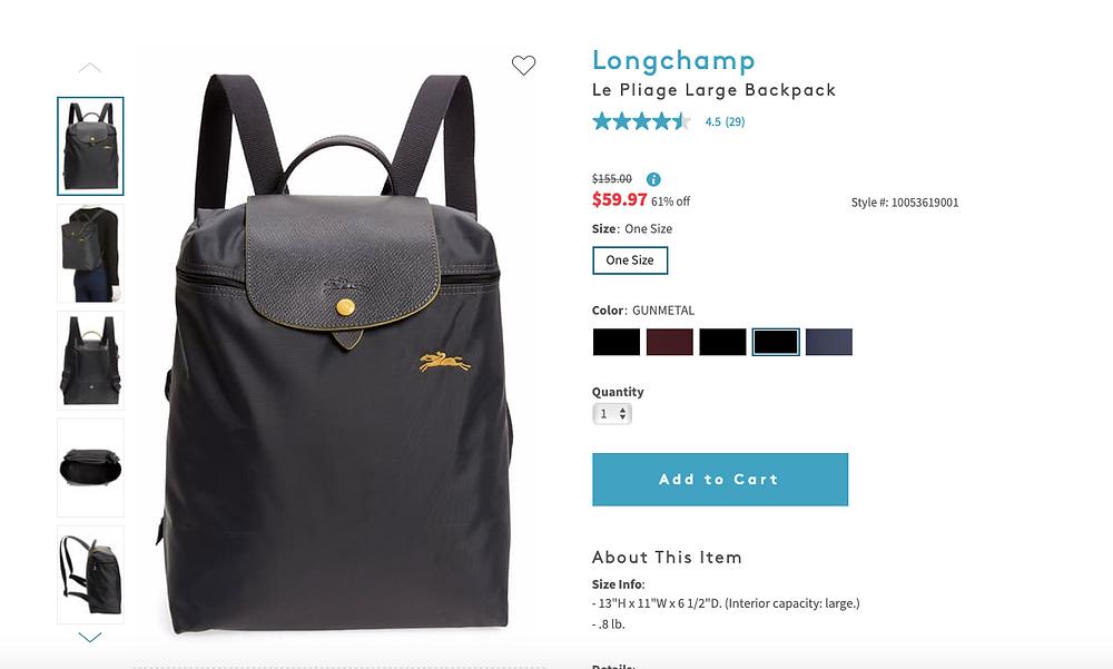 Longchamp Le Pliage Large Backpack    $59.97