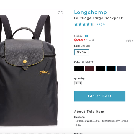 Longchamp Le Pliage Large Backpack $59.97