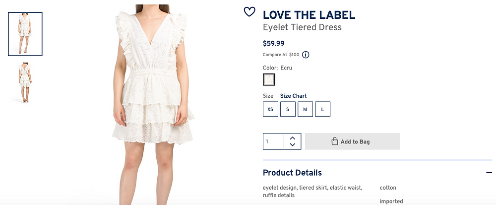 LOVE THE LABEL Eyelet Tiered Dress  $59.99