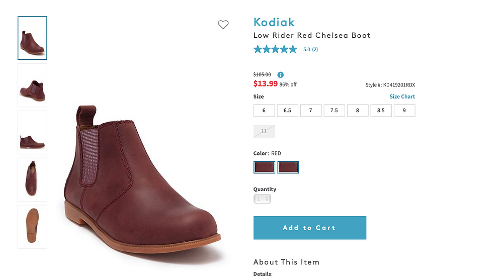 KodiakLow Rider Red Chelsea Boot  $105.00Information $13.9986% off