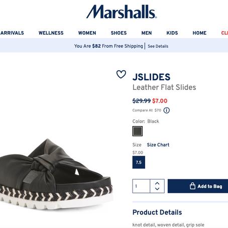 7$ J/SLIDES Leather Flat Slides At Mashalls