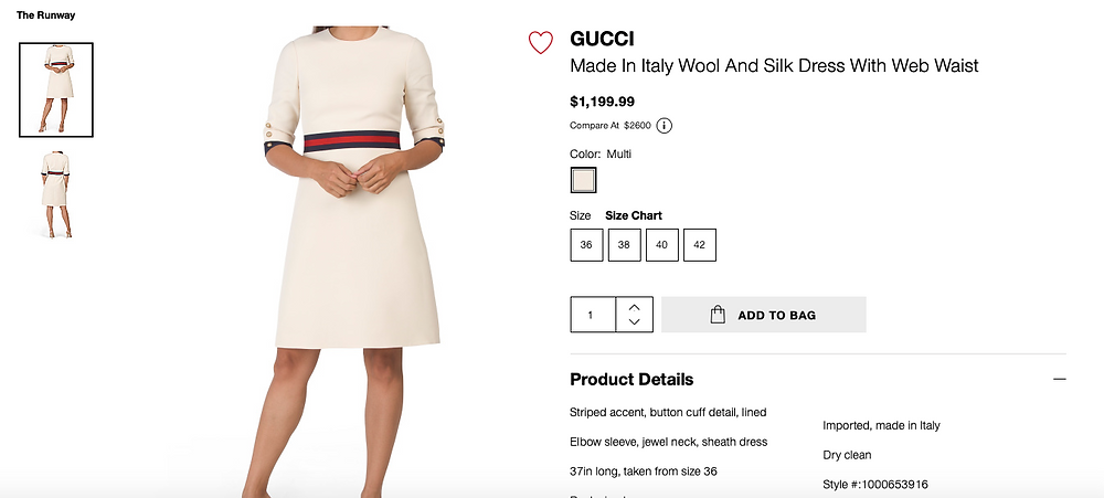 GUCCI Made In Italy Wool And Silk Dress With Web Waist  $1,199.99