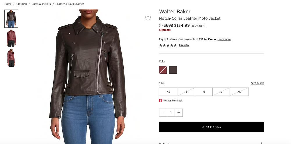 Walter Baker Notch-Collar Leather Moto Jacket $134.99 (80% OFF)