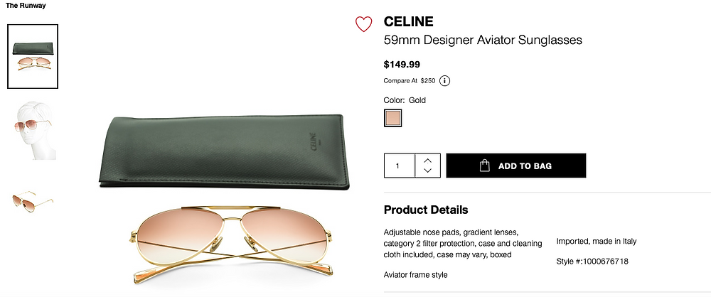 CELINE 59mm Designer Aviator Sunglasses  $149.99