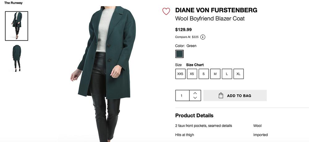 DIANE VON FURSTENBERG Wool Boyfriend Blazer Coat  $129.99