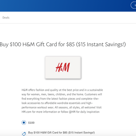 Buy $100 H&M Gift Card For $85