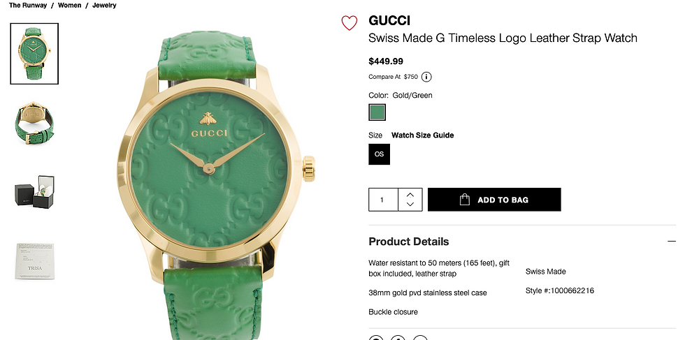 GUCCI Swiss Made G Timeless Logo Leather Strap Watch  $449.99