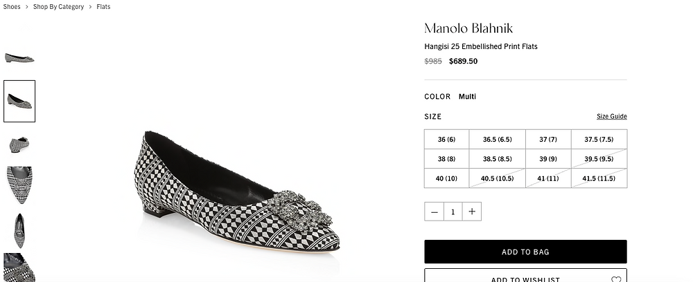 Manolo Blahnik Hangisi 25 Embellished Print Flats Price reduced from $985 to $689.50