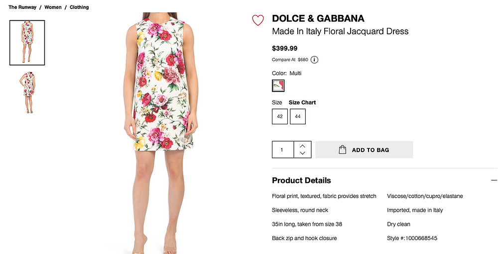 DOLCE & GABBANA Made In Italy Floral Jacquard Brocade Dress  $399.99