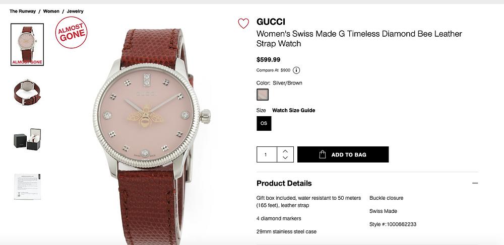 GUCCI Women's Swiss Made G Timeless Diamond Bee Leather Strap Watch  $599.99