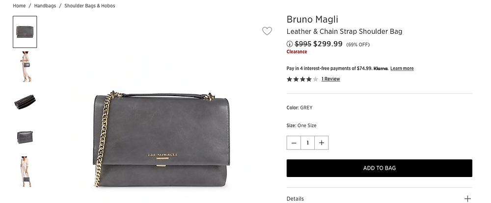 Bruno Magli Leather & Chain Strap Shoulder Bag  $299.99 (69% OFF)