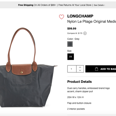 Longchamp Le Pliage Bag Sale At TjMaxx