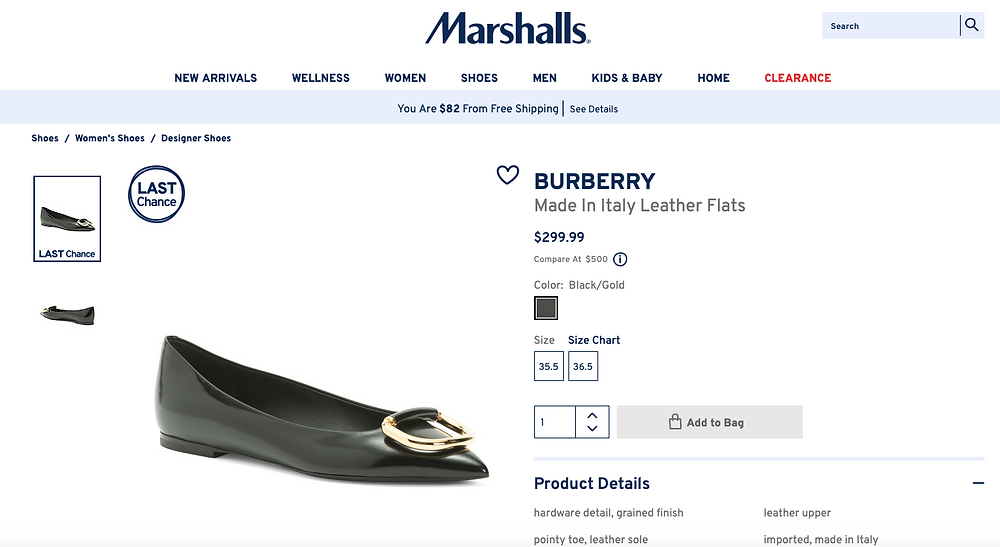 BURBERRY Made In Italy Leather Flats