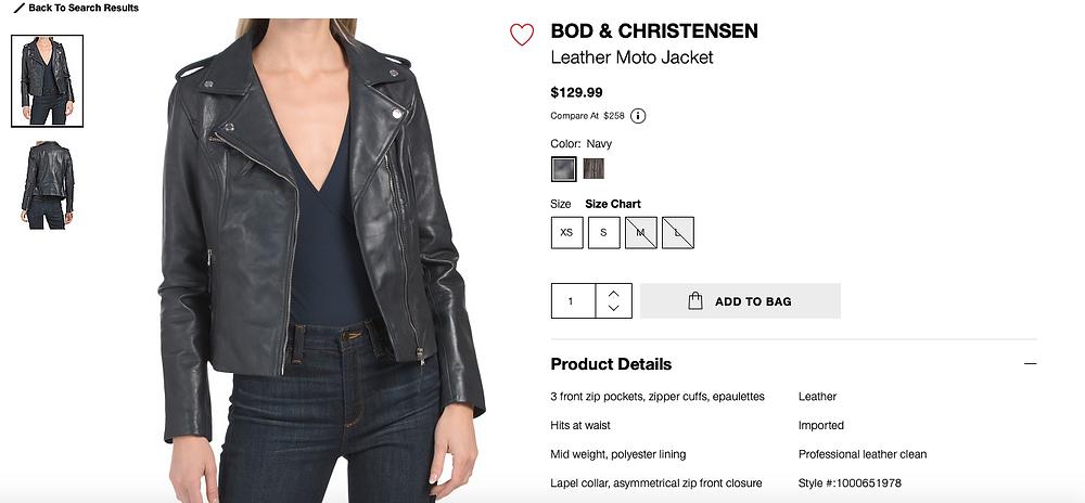 BOD & CHRISTENSEN Leather Moto Jacket For $129.99