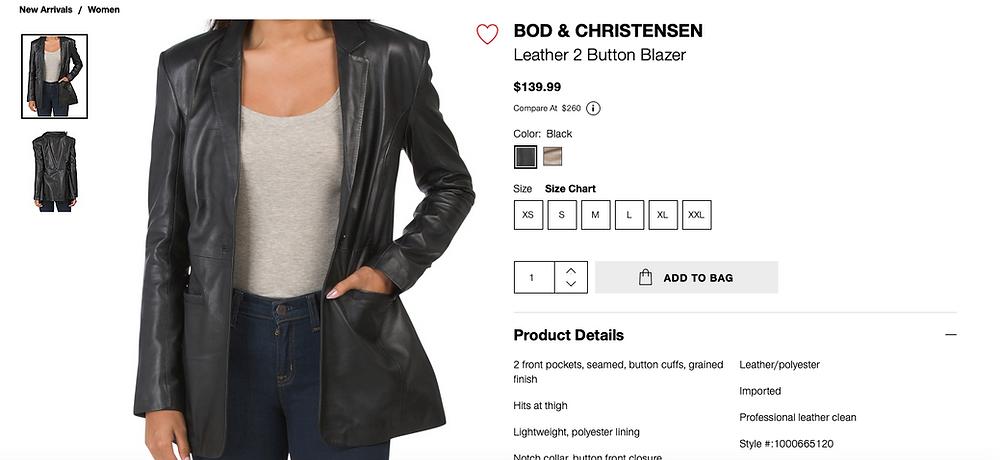 BOD & CHRISTENSEN Leather 2 Button Blazer  $139.99