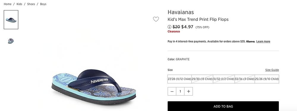 Havaianas Kid's Max Trend Print Flip Flops $4.97 (75% OFF)