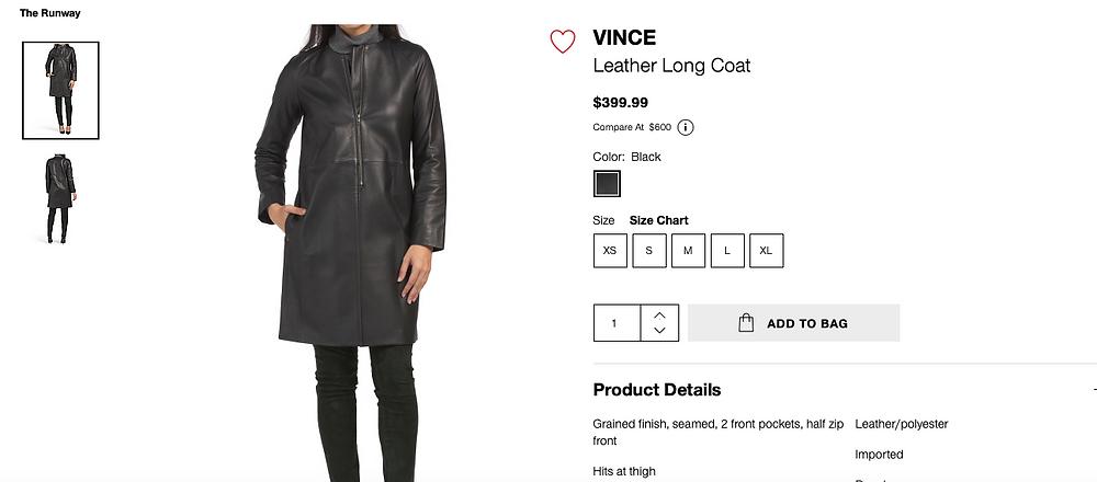 VINCE Leather Long Coat  $399.99
