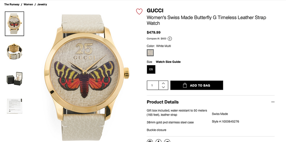 GUCCI Women's Swiss Made Butterfly G Timeless Leather Strap Watch  $479.99