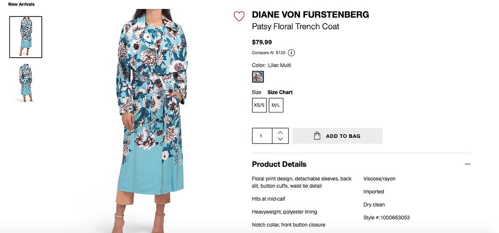DIANE VON FURSTENBERG Patsy Floral Trench Coat  $79.99