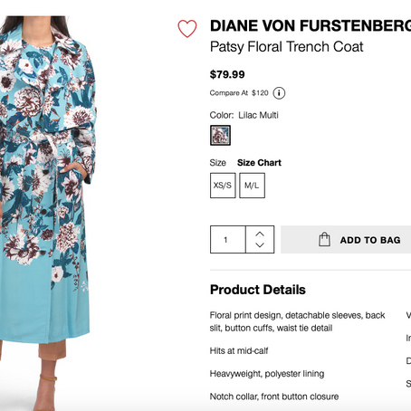 DIANE VON FURSTENBERG (DVF) Dresses And Coats For $79.99 At TJMaxx