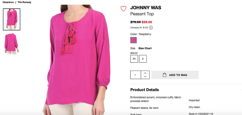 JOHNNY WAS Peasant Top In Raspberry Color  $59.00