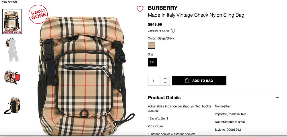BURBERRY Made In Italy Vintage Check Nylon Sling Bag  $949.99