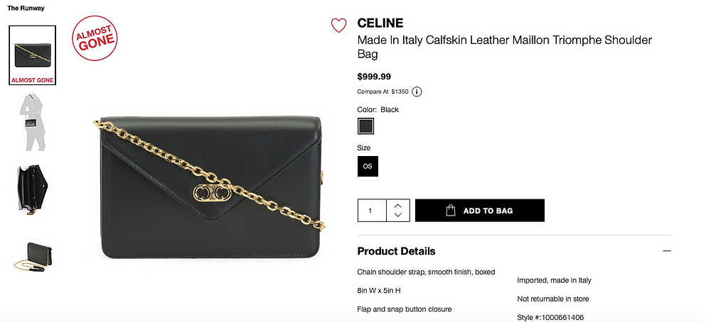 CELINE Made In Italy Calfskin Leather Maillon Triomphe Shoulder Bag  $999.99
