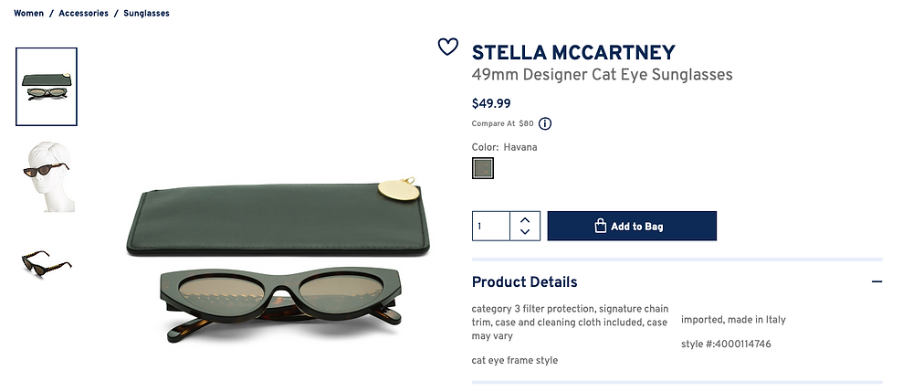 STELLA MCCARTNEY 49mm Designer Cat Eye Sunglasses  $49.99