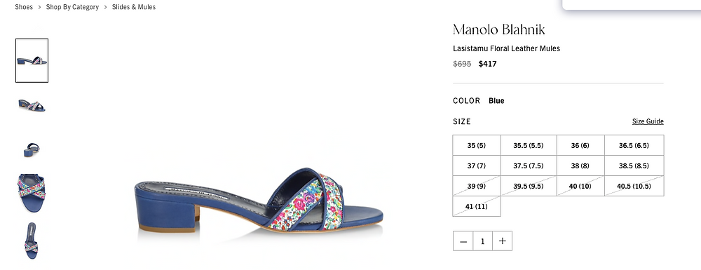 Manolo Blahnik Lasistamu Floral Leather Mules Price reduced from $695 to $417