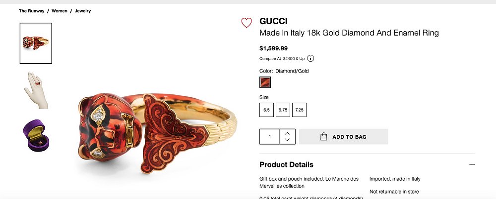 GUCCI Made In Italy 18k Gold Diamond And Enamel Tiger Ring $1,599.99 Compare At  $2400 &