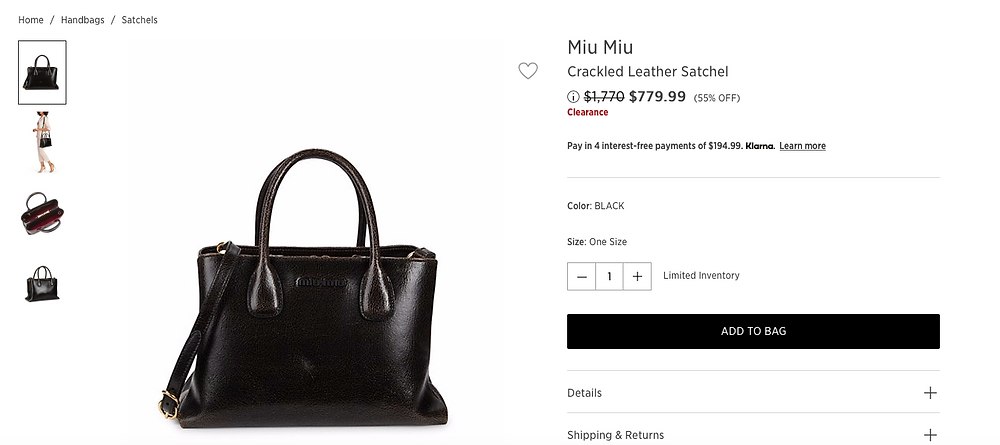 Miu Miu Crackled Leather Satchel $779.99 (55% OFF)