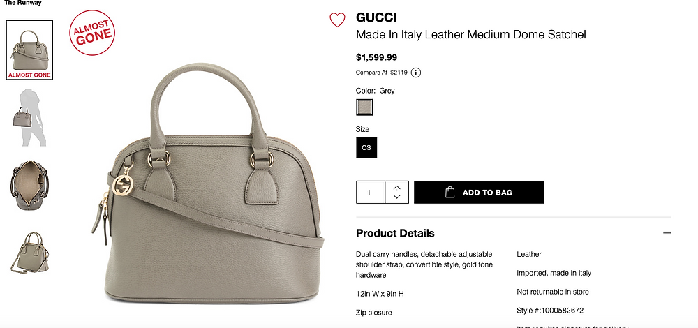 GUCCI Made In Italy Leather Medium Dome Satchel  $1,599.99