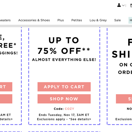 Get an extra 75% Off of Loft Clearance Sale.