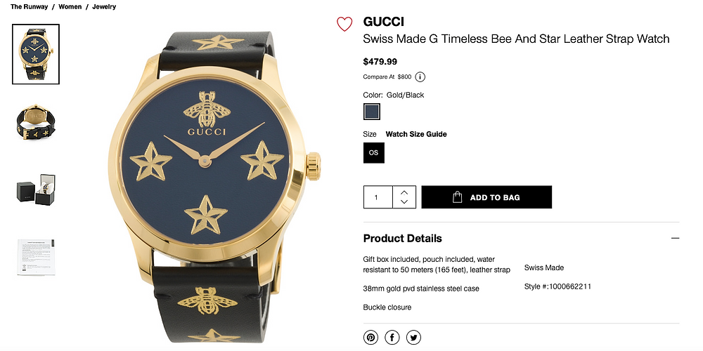 GUCCI Swiss Made G Timeless Bee And Star Leather Strap Watch  $479.99
