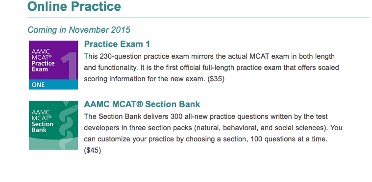 New MCAT prep materials
