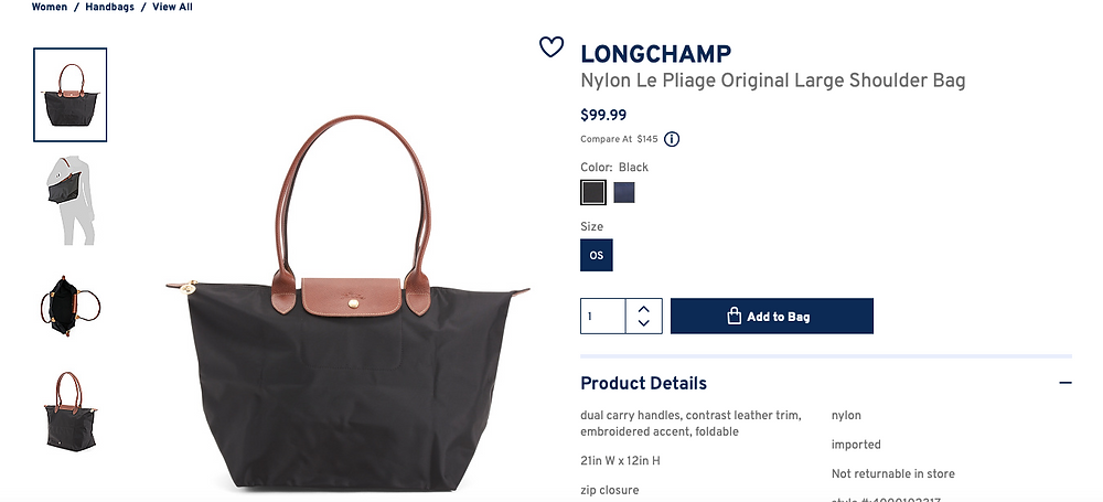 LONGCHAMP Nylon Le Pliage Original Large Shoulder Bag  $99.99