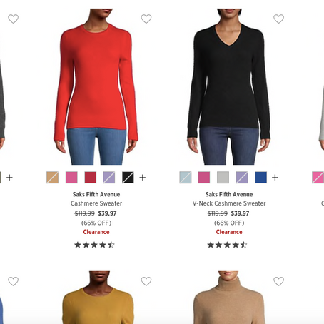 Cashmere Sweaters are 39.99 at SaksOff5th