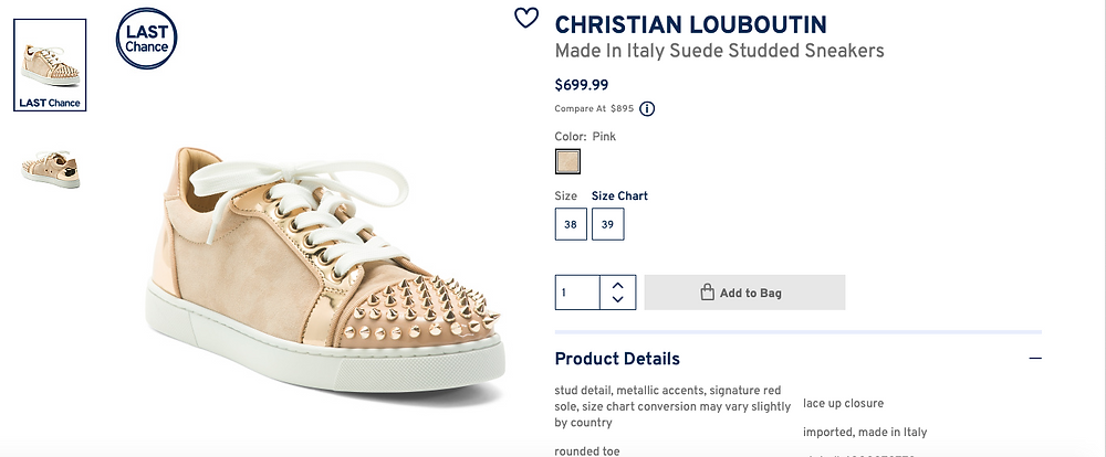 CHRISTIAN LOUBOUTIN Made In Italy Suede Studded Sneakers  $699.99