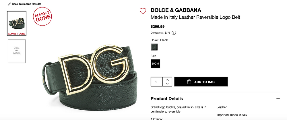 DOLCE & GABBANA Made In Italy Leather Reversible Logo Belt  $299.99