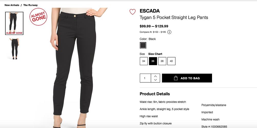 ESCADA Tygan 5 Pocket Straight Leg Pants  $99.99 — $129.99