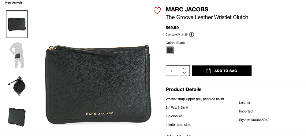 MARC JACOBS The Groove Leather Wristlet Clutch  $69.99